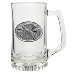 Three Pheasants Glass Super Beer Mug with Pewter Accent