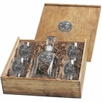 Three Pintail Ducks Capitol Decanter & DOF Glasses Box Set with Pewter