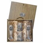 Three Pintail Ducks Pilsner Glasses & Beer Mugs Box Set with Pewter