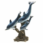 Three Swimming Blue Dolphins Statue