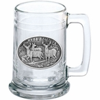Three Whitetail Deer Glass Beer Mug with Pewter Accent