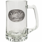 Three Whitetail Deer Glass Super Beer Mug with Pewter Accent