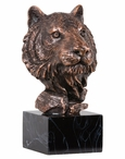 Tiger Head Bust Statue - Antique Bronze Finish