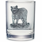 Tiger Pewter Accent Double Old Fashion Glasses, Set of 2