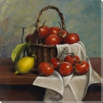 Tomatoes in a Basket Wrapped Canvas Giclee Print Wall Art