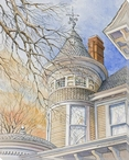 Top Side View House Structure Wrapped Canvas Giclee Art Print Wall Art
