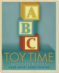 Toy Time Wooden Blocks Blue Wrapped Canvas Giclee Print Wall Art