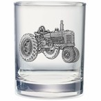 Tractor Pewter Accent Double Old Fashion Glasses, Set of 2