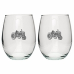 Tractor Pewter Accent Stemless Wine Glass Goblets, Set of 2