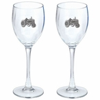 Tractor Pewter Accent Wine Glass Goblets, Set of 2