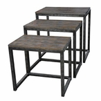 Trail Ridge Aged Metal and Burnished Oak Nesting Tables, Set of 3