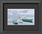 Tranquility in the Cove Boats Float Mount Framed Art Print Wall Art
