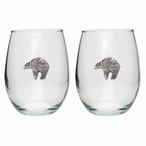 Tribal Bear Pewter Accent Stemless Wine Glass Goblets, Set of 2