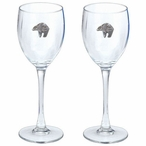 Tribal Bear Pewter Accent Wine Glass Goblets, Set of 2