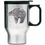 Tribal Bear Stainless Steel Travel Mug with Handle and Pewter Accent