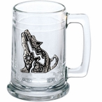 Tribal Coyote Glass Beer Mug with Pewter Accent