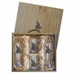 Tribal Coyote Pilsner Glasses & Beer Mugs Box Set with Pewter Accents