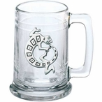 Tribal Lizard Glass Beer Mug with Pewter Accent