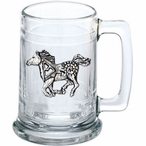 Tribal Pony Glass Beer Mug with Pewter Accent