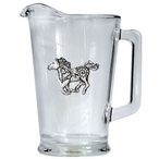 Tribal Pony Glass Pitcher with Pewter Accent