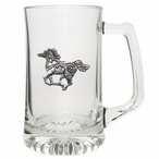 Tribal Pony Glass Super Beer Mug with Pewter Accent
