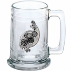 Tribal Quail Bird Glass Beer Mug with Pewter Accent