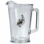 Tribal Quail Bird Glass Pitcher with Pewter Accent