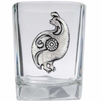 Tribal Quail Bird Pewter Accent Shot Glasses, Set of 4