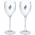 Tribal Quail Bird Pewter Accent Wine Glass Goblets, Set of 2