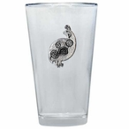 Tribal Quail Bird Pint Beer Glasses with Pewter Accent, Set of 2