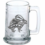 Tribal Rabbit Glass Beer Mug with Pewter Accent