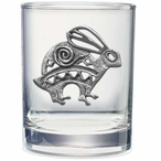 Tribal Rabbit Pewter Accent Double Old Fashion Glasses, Set of 2