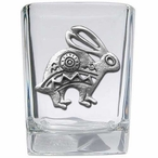 Tribal Rabbit Pewter Accent Shot Glasses, Set of 4