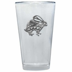 Tribal Rabbit Pint Beer Glasses with Pewter Accent, Set of 2
