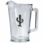 Tribal Saguaro Cactus Glass Pitcher with Pewter Accent