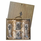 Tribal Saguaro Cactus Pilsner Glasses & Beer Mugs Box Set with Pewter