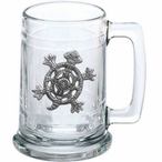 Tribal Turtle Glass Beer Mug with Pewter Accent