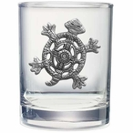 Tribal Turtle Pewter Accent Double Old Fashion Glasses, Set of 2