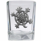 Tribal Turtle Pewter Accent Shot Glasses, Set of 4