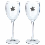 Tribal Turtle Pewter Accent Wine Glass Goblets, Set of 2