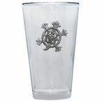Tribal Turtle Pint Beer Glasses with Pewter Accent, Set of 2