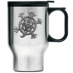 Tribal Turtle Stainless Steel Travel Mug with Handle and Pewter Accent