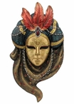 Triple Feather Turban Carnival Mask Wall Plaque
