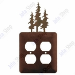 Triple Pine Trees Double Metal Outlet Cover