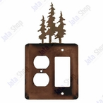 Triple Pine Trees Double Metal Outlet Cover with Single Rocker