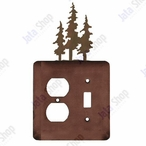 Triple Pine Trees Double Metal Outlet Cover with Single Toggle