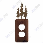 Triple Pine Trees Single Metal Outlet Cover