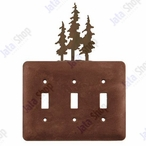 Triple Pine Trees Triple Toggle Metal Switch Plate Cover