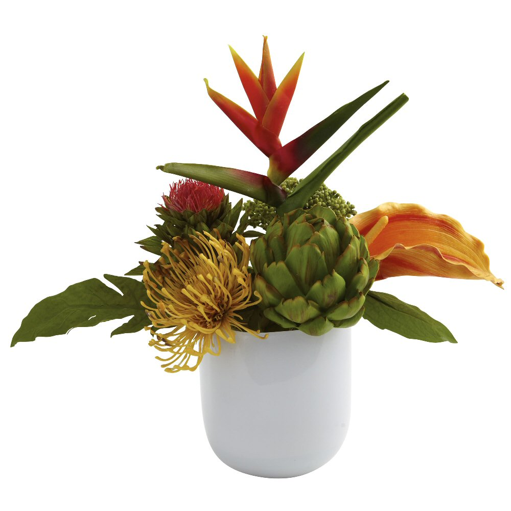 Tropical Floral Arrangement With White Glass Vase Artificial