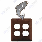 Trout Fish Double Metal Outlet Cover